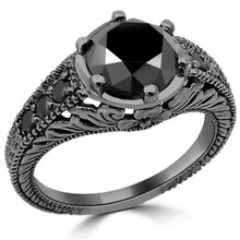 2 Carat Black Diamond Vintage Engagement Ring 14k Black Gold