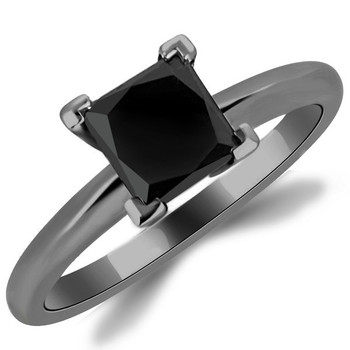 Princess Black Diamond Solitaire Engagement Ring 14k Black Gold