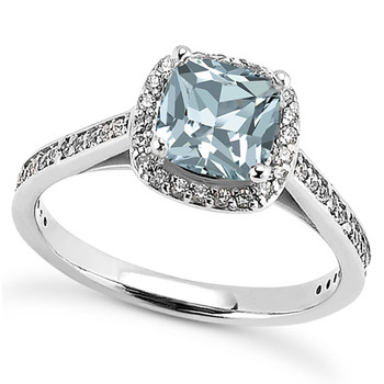 Petite Cushion Blue Aquamarine Diamond Halo Engagement Ring