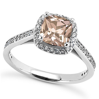 Petite Peach-Pink Morganite Diamond Halo Engagement Ring