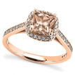 Petite Peach-Pink Morganite Diamond Halo Engagement Ring in Rose Gold