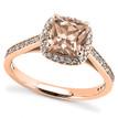 Petite Peach-Pink Morganite Diamond Halo Engagement Ring in Rose Gold