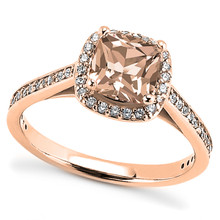 Petite Peach-Pink Morganite and Diamond Halo Engagement Ring in Rose Gold