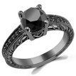 Fancy Black Diamond Vintage Engagement Ring 14k Black Gold