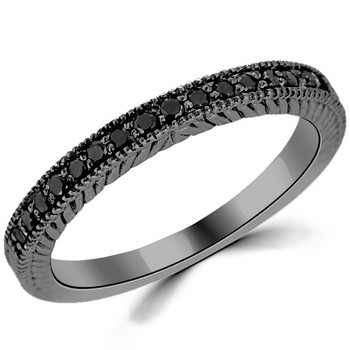 Black Diamond Wedding Ring 14k Black Gold Vintage Band