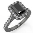 Emerald Cut Black Diamond Halo Engagement Ring 14k Black Gold