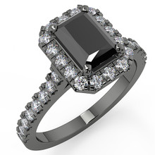 Emerald Cut Black Diamond Halo Engagement Ring 14k Black Gold