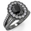 Oval Black Diamond Halo Engagement Ring 14k Black Gold
