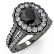 Oval Black Diamond Halo Engagement Ring 14k Black Gold
