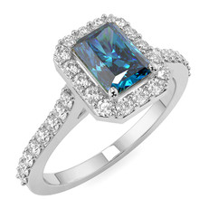 Emerald-Cut Fancy Blue Diamond Halo Engagement Ring