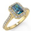 Emerald-Cut Fancy Blue Diamond Halo Engagement Ring in Yellow Gold