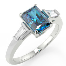 Emerald-Cut Fancy Blue Diamond 3-Stone Engagement Ring