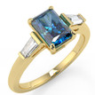 Emerald-Cut Fancy Blue Diamond 3-Stone Engagement Ring Yellow Gold