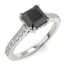 Princess Cut Fancy Black Diamond Engagement Ring