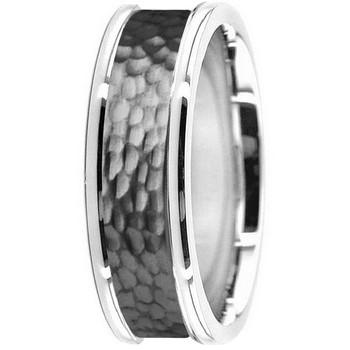 Hammered 14k Black / White Gold Wedding Band Ring