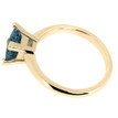 Princess Cut Blue Diamond Solitaire Engagement Ring Yellow Gold Side-View