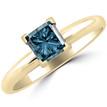 1 Carat Princess Cut Blue Diamond Solitaire Engagement Ring Yellow Gold