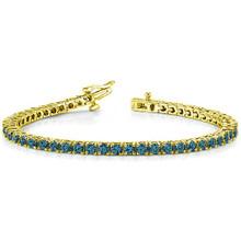 Fancy Blue Diamond Tennis Eternity Bracelet 14k Yellow Gold