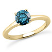 1 Carat Blue Diamond Tapered Solitaire Engagement Ring Yellow Gold