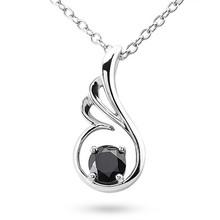 Fancy Black Diamond Solitaire Wing Pendant Necklace 14k Gold