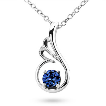 Blue Sapphire Solitaire Pendant Wing Necklace 14k Gold