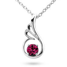 Ruby Solitaire Pendant Unique Wing Necklace 14k Gold
