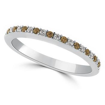 Alternating Fancy-Brown White Diamond Wedding Ring
