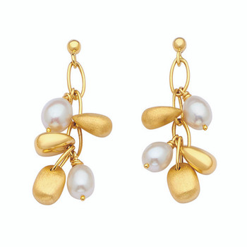 Unique Pearl Drop Dangle Earrings 14k Yellow Gold