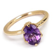 Oval Amethyst Solitaire Engagement Ring 14k Yellow Gold