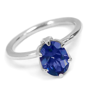 Oval Blue Sapphire Solitaire Engagement