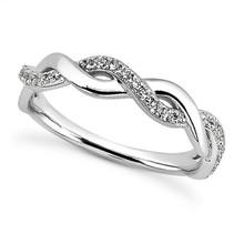 Unique Diamond Twist Wedding Band Guard Ring