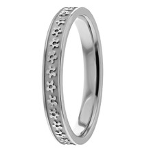 Floral Woman's Platinum Wedding Band Comfort-Fit Flower Ring