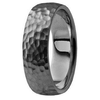 All-Hammered 14k Black Gold Wedding Band Men's Ring