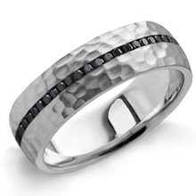 Men's Hammered Black Diamond Ring Eternity Wedding Band