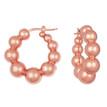 Puffed Ball Hoop Earrings Polished 14k Rose Pink Gold