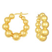 Puffed Ball Hoop Earrings Polished 14k Yellow Gold