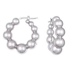 Puffed Ball Hoop Earrings Polished 14k White Gold