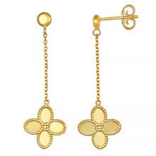 Fancy Flower Drop Dangle Earrings 14k Yellow Gold