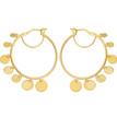 Unique Hoop Earrings With Dangling Discs 14k Yellow Gold