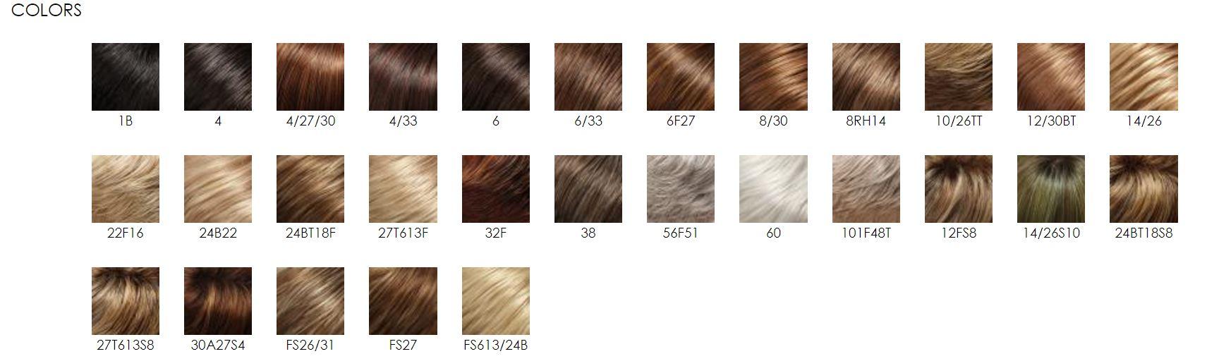 Jon renau synthetic wig color chart