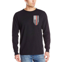 Thin Red Line Flag Long Sleeve Black T-Shirts