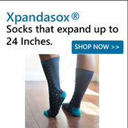 XpandaSox feature an expandable rear section that allows the sock to stretch without binding or falling.