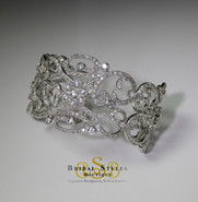 Beautiful Crystal encrusted Filigree Cuff Bracelet