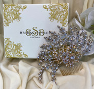 """Dramatic side comb, designed with Swarovski Crystals. 7""""long x 4""""wide"""