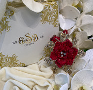 """Stunning 3D rose comb. Designed with crystals. 5""""long x 4""""wide"""