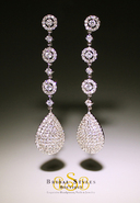 E148 Long CZ Encrusted Pear Drop Earrings