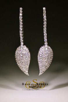 Fancy CZ Encrusted Leaf Earrings