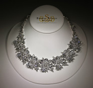 Large And Dramatic CZ Flower Necklace
