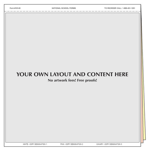 "#19143 - Customized Form - 8½"" x 8½"" - 3 Part"