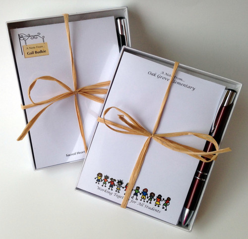 Gift Set comes with 2 Personalized Pads and a Coordinating Pen! Boxed with Ribbon!